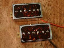 HUMBUCKER SIZED P90 GUITAR PICKUP SET ALNICO 5 BROWN TORTOISE ENCASED IN CHROME
