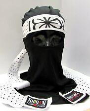 Ninja Face mask set Japanese (AKA) Black mask OKINAWAN FLOWER Headband