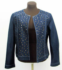 Baccini Womens Size Large Denim Jacket with Silver Square and Brass Round Studs
