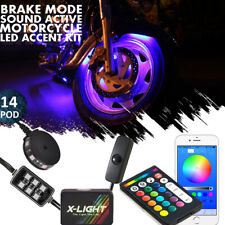 14pc Motorcycle Deluxe Led Light Pods Kit All-Color Neon Accent Glow UnderBody