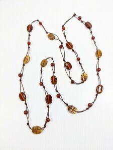 Artisan Brown Crema Banded Glass Bead Cord Necklace 15032