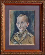 WILLIAM STRAUBE (1871-1954) Original RARE gouache Nazi German Afrika Corps 1944