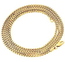 """Box Chain Necklace 3mm 30"""" Lobster clasp Hip Hop 14K Gold Gp Venetian Round"""