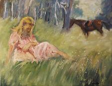"A Girl & Her Horse, Sean Wu original 14x18"" oil on stretched canvas"
