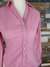 TM Lewin Ladies Pink White Check 100% Cotton Long Sleeve Fitted Blouse Size UK 8