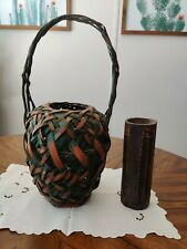 Antique Vintage Japanese Ikebana Basket Cylindrical Bamboo Flower Vase Weaved