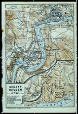 SCHAFFHAUSEN, alter farbiger Stadtplan, gedruckt ca. 1926