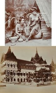 2 ANTIQUE ORIGINAL PHOTO THAI THAILAND RAMA V BANGKOK ALBUMEN SIAM SIAMESE 1900