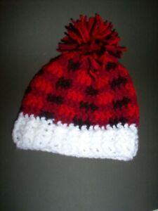 "Hand crochet hat 14"" to 15"" head, buffalo plaid"