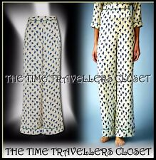 TOPSHOP Kate Moss Cream Green Blue Floral Satin Pyjama Palazzo Trousers UK 6 8