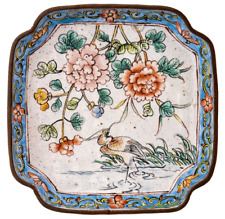 An Antique Chinese Canton Enamel Square Decorated Nature Scene Dish