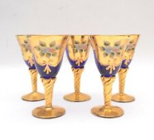 Murano Venetian Mid Century Italian Hand Blown  Blue and 24k Gold Wine Glasses