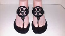 Tory Burch Miller Sandals Thong Leather Black Size 8M