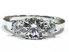 14K White Gold Three-Stone Cubic Zirconia Round Cut Engagement Ring, 6mm CZ Ctr