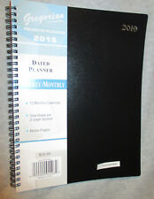 """2019 BLACK - LARGE 11X9"""" WEEKLY/MONTHLY Executive Daily PREMIUM SPIRAL PLANNER"""