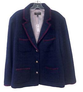 TALBOTS Plus Boiled Wool Boucle Blazer Jacket 18W Dark Navy Lined Pockets NWT