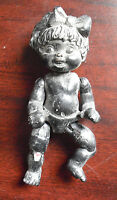 """RARE Jointed Resin Black Baby Girl Doll Prototype Doll 4"""" Tall"""