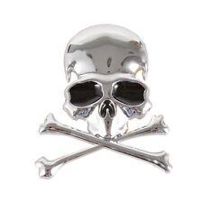 3D Metal Skull Cross Bone Logo Skeleton Emblem Car Sticker Motorcycle Decal New