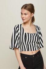 Miss Selfridge - Black/White Striped Square Neck Crop Top - Size 10 - BNWT