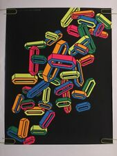 Original Blacklight Poster Vintage Pin-up 1970s Pez Pills Coins Abstract Rainbow