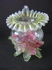 Opalescent Crackle Glass Footed Jack N Pulpit Vase ~Applied Pink Flower