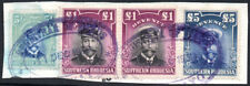 Southern Rhodesia Revenue 1924 £5, £1 pair & 5s used on piece, Barefoot 4/5