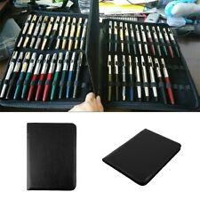 M_Fountain Pen/Roller Pen Black Color PU Leather Zipper Case for 48 PensNew