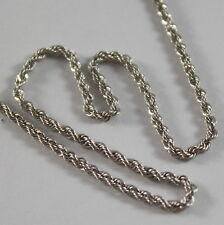 18K WHITE GOLD CHAIN NECKLACE, BRAID ROPE, 18 INCHES LENGHT, 45 CM MADE IN ITALY