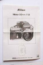 Nikon AI Nikkor 50mm 1:1.8 Instruction Manual Book - Multilingual - USED M1