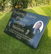 Engraved Personalised Black Granite  Memorial Grave Plaque Stone Cemetery Marker