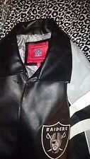 NFL Authenic Oakland Raiders Leather Football Jacket Size Medium