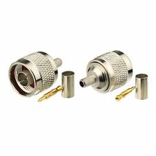 2-Pack N Type Male Crimp Solder Connector for RG223 Double Shield Coaxial Cable