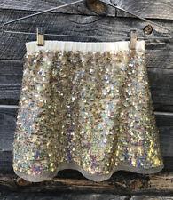 Crewcuts 6-7 Sequin Skirt Iridescent Gold Cotton waistband/lining Retail$58