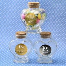 50 Personalized Heart Glass Candy Jars Graduation Birthday Party Baby Favors