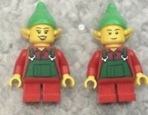 Lego X2 Christmas Elf Mini Figure With Red Short Legs,pointed Ears Headgear Hat