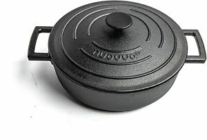 Nuovva Cast Iron Pot with Lid NonStick Shallow Pan with Ergonomic Handles 4L