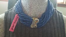 "Seed Bead Multi Row Necklace Nwt New Betsey Johnson ""Betsey Blues"" Pave Snake"