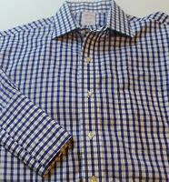 Brooks Brothers Mens Sz 15 1/2 34 Non Iron Long Sleeve Button-Front Checks Frenc