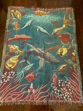 Goodwin Weavers Fish Ocean Sea Aquarium Whale Throw Blanket USA  49 x 65 Fringe