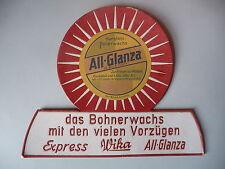 Reklame-Aufsteller Pappe All-Glanza Bohnerwachs / Fa. Karl Witzleb Groitzsch