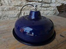 Lampe Abat Jour Industriel Suspension Métal Tôle émaillée Bleu Atelier Usine