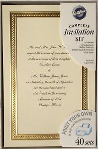 "40 Wilton Ivory Wedding Invitations w/ Gold Border ""BRAIDED ELEGANCE""  Printable"