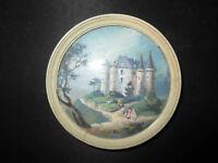 ancienne miniature peinte paysage au château XVIII ème ou début XIX ème