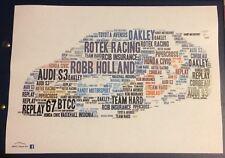 BTCC Robb HOLLAND ROTEK RACING AUDI S3 Lunettes Couleur Voiture Word Art ~ Affiche A4