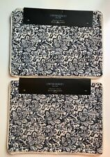 """*SET OF 8**CYNTHIA ROWLEY* Blue/Off-White Floral Print 13"""" X 18"""" Placemats**NEW"""