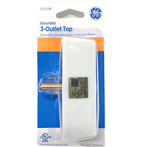 Triple GE Wall Tap Adapter Grounded Electrical Socket Extender