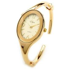 Gold GL Oval Face Jewelry Bracelet Women's Hinged Cuff Bangle Dressy Watch