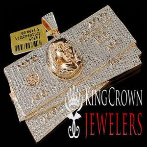 Mens Rose Gold Finish .33ctw Genuine Real Diamond $100 Dollar Bill Charm Pendant