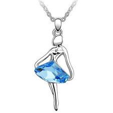 Ballet Dance Girl Ballerina Ocean Blue Crystal Silver Pendant Necklace