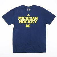 ADIDAS Michigan Hockey Blue American Short Sleeve T-Shirt Mens L